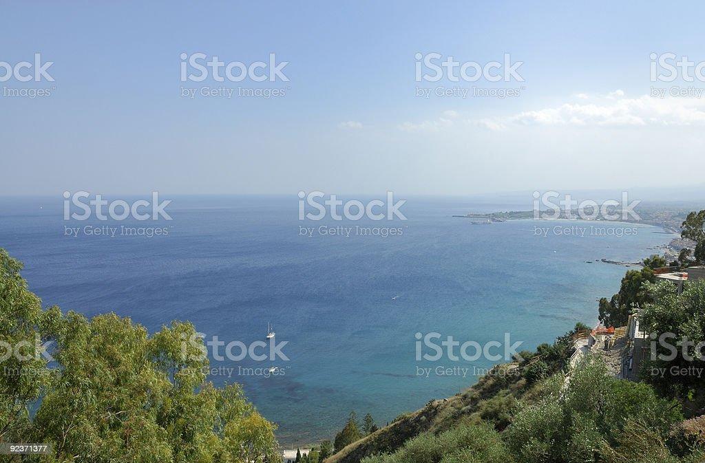 Naxos Bay view from Taormina royalty-free stock photo