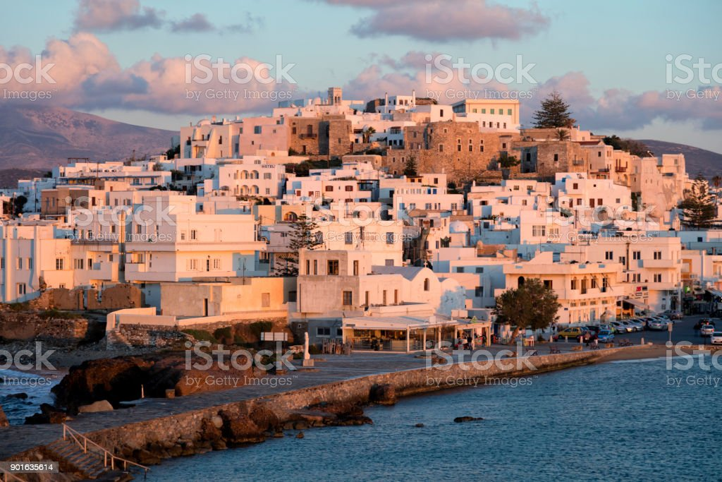 Naxos in Sunset Light, Aegean Sea, Cyclades, Greece stock photo
