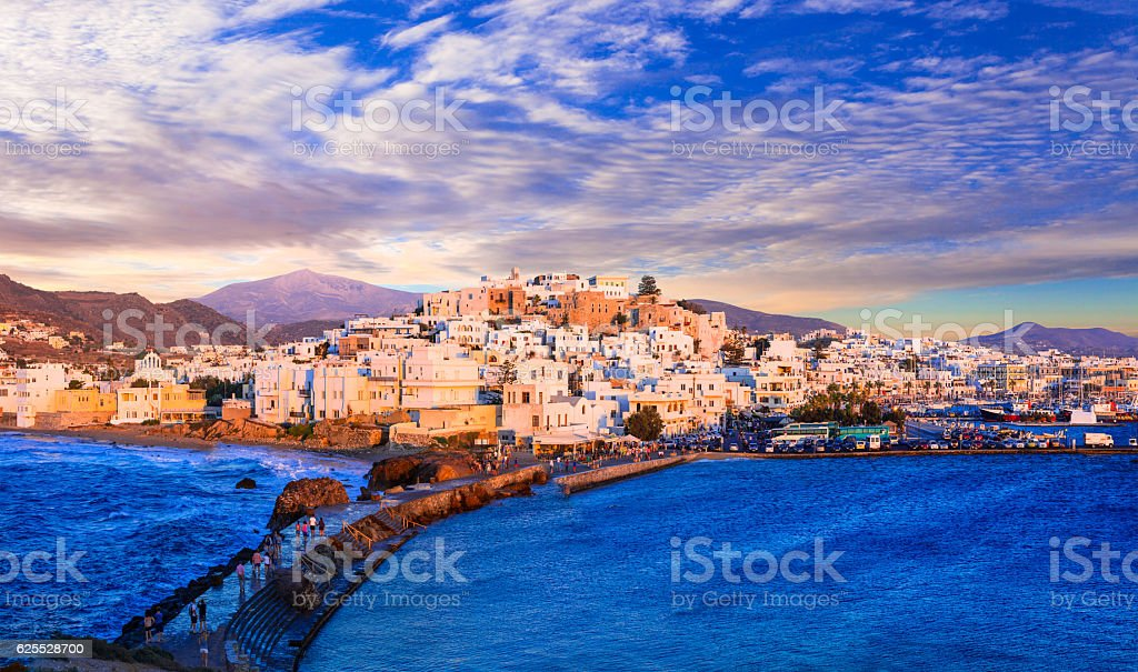Naxos island over sunset, Greece, royalty-free stock photo