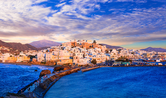 Naxos Island Over Sunset Greece Stock Photo - Download Image Now