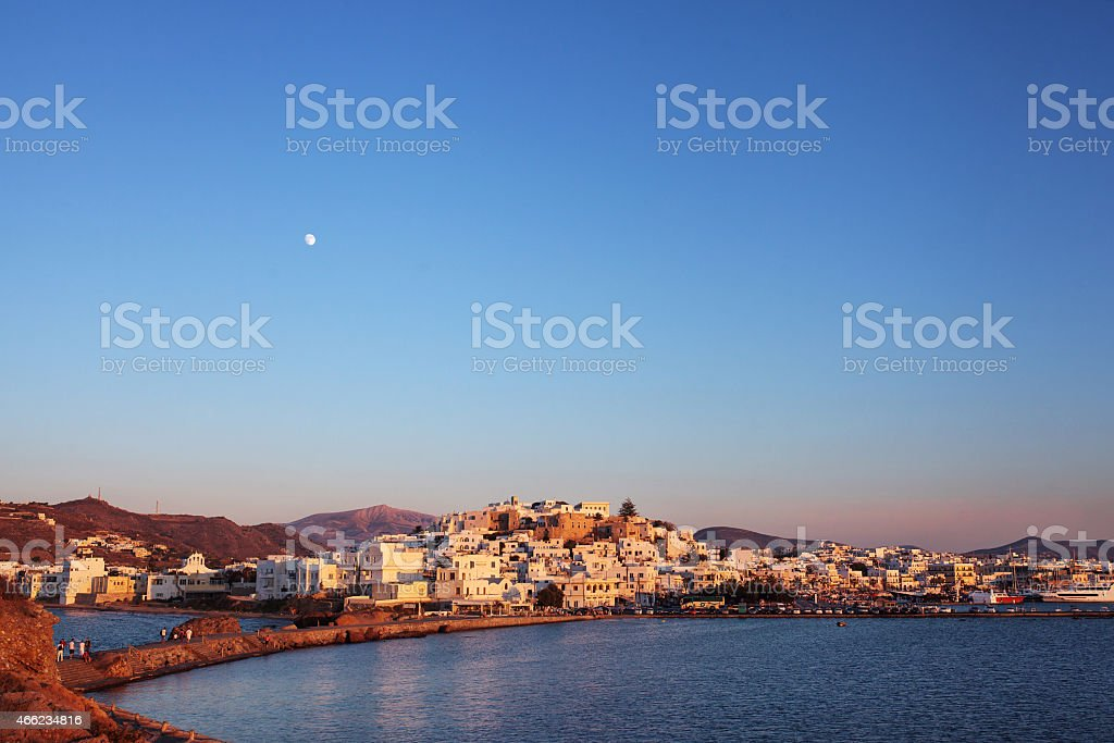 Naxos Old town at sunset, Greece. stock photo