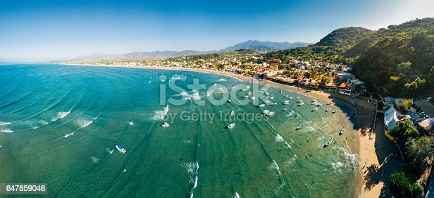 Panoramic Aerial View of Nayarit Beach Rincon de Guayabitos, Mexico.