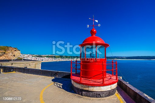 Nazare Lighthouse In Forte De Sao Miguel - Oeste, Portugal, Europe