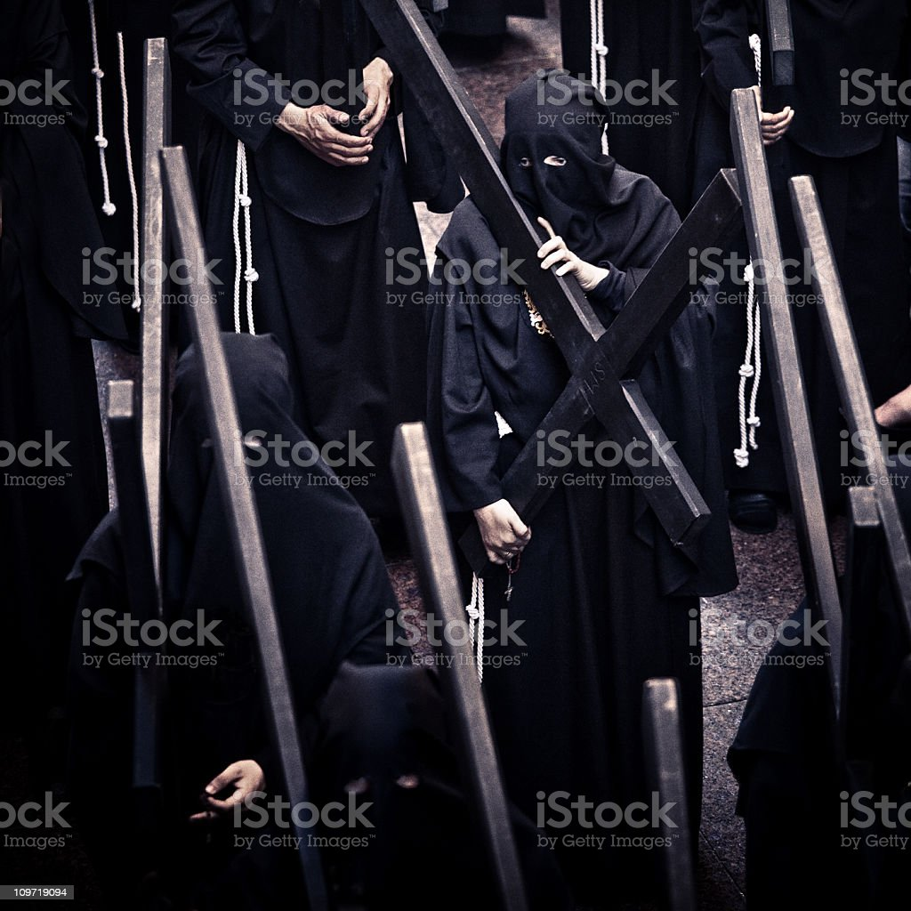 nazarenos during semana santa royalty-free stock photo