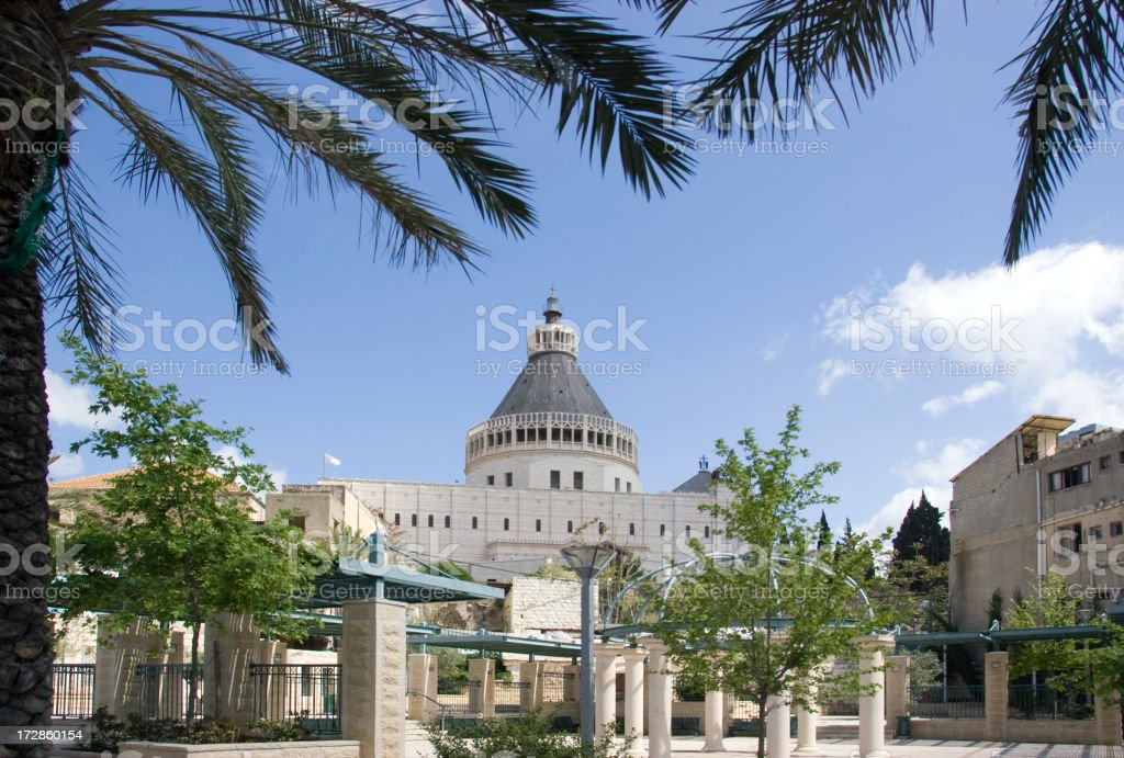 Nazareth &  Basilica of the Annunciation stock photo