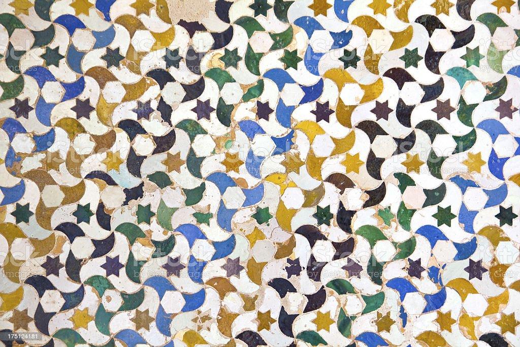 Nazaries Palace. Moisaic in Alhambra, Granada. royalty-free stock photo
