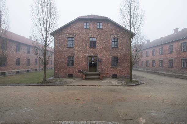 Campo de concentración y exterminio nazi en Auschwitz - foto de stock