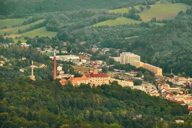 Náchod, Czechia - 08/25/2019 - Aerial view of Náchod castle. stock photo