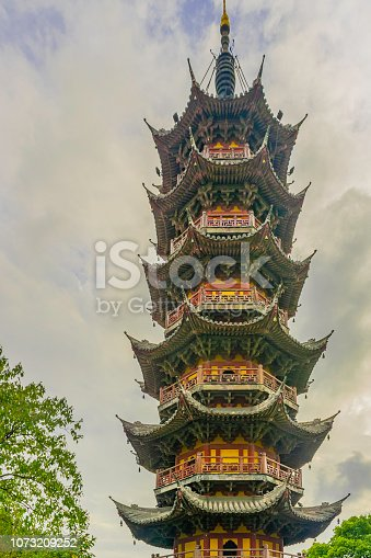 Ancient Pagoda Longhua temple in Shanghai China, is one of the famous Buddhist monastery in China. The ancient Mahayana temple in Shanghai people like to pay homage.On the day of the leaves change color.