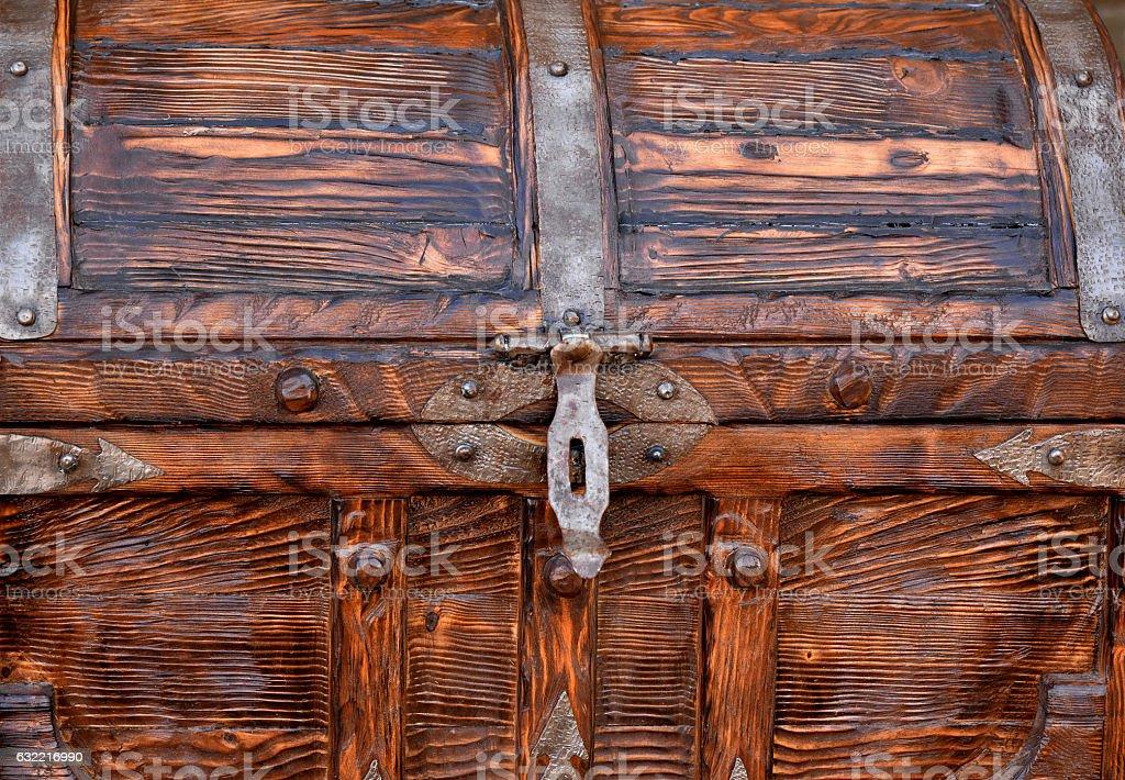 Аncient wooden chest stock photo