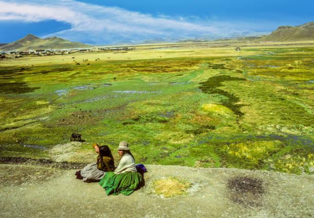 ndio frauen sitzt auf dem bahnsteig mit dem altiplano und tiere im hintergrund - typisch 90er stock-fotos und bilder