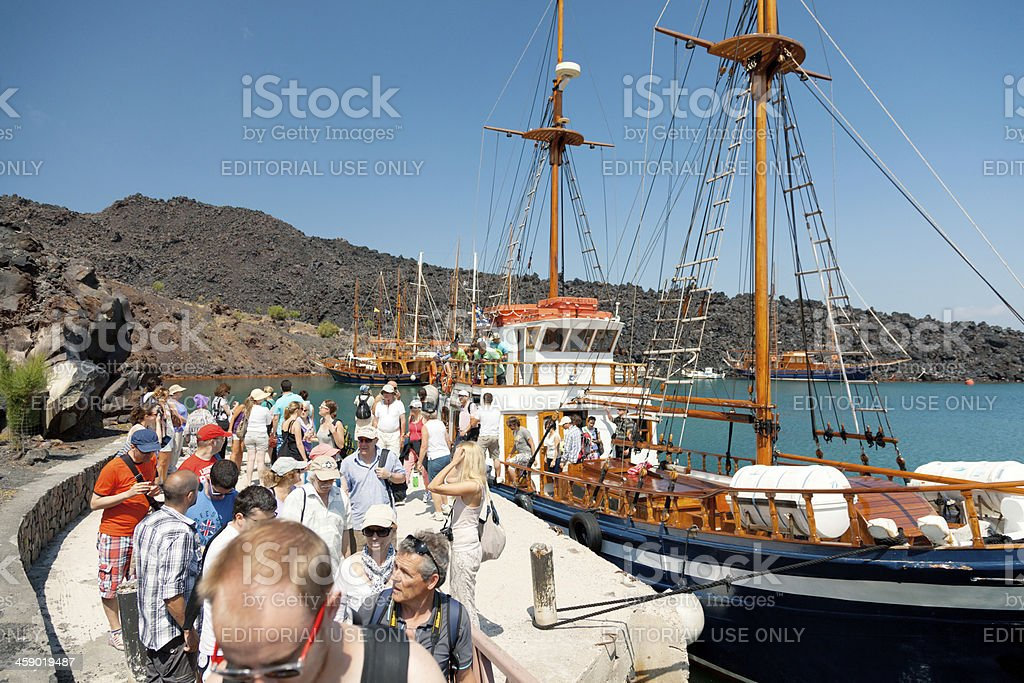 Nea Kameni volcanic island, Santorini royalty-free stock photo