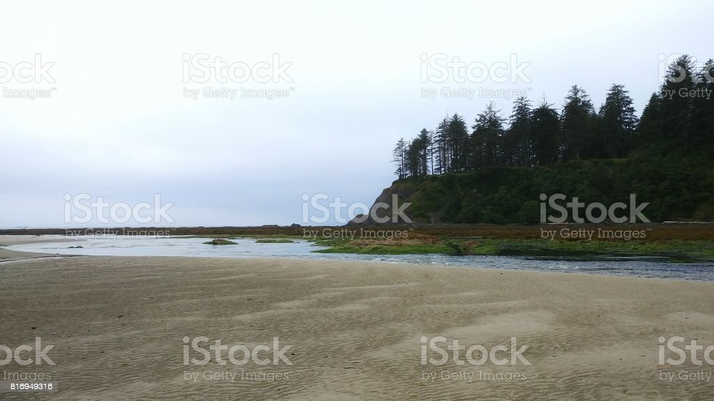 Neah Bay Beach, Makah Tribe, Washington, Mountains Landscape stock photo