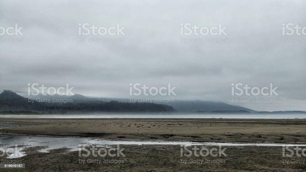 Neah Bay Beach, Makah Tribe, Washington, Ripples, Mountains, Tide Pools stock photo