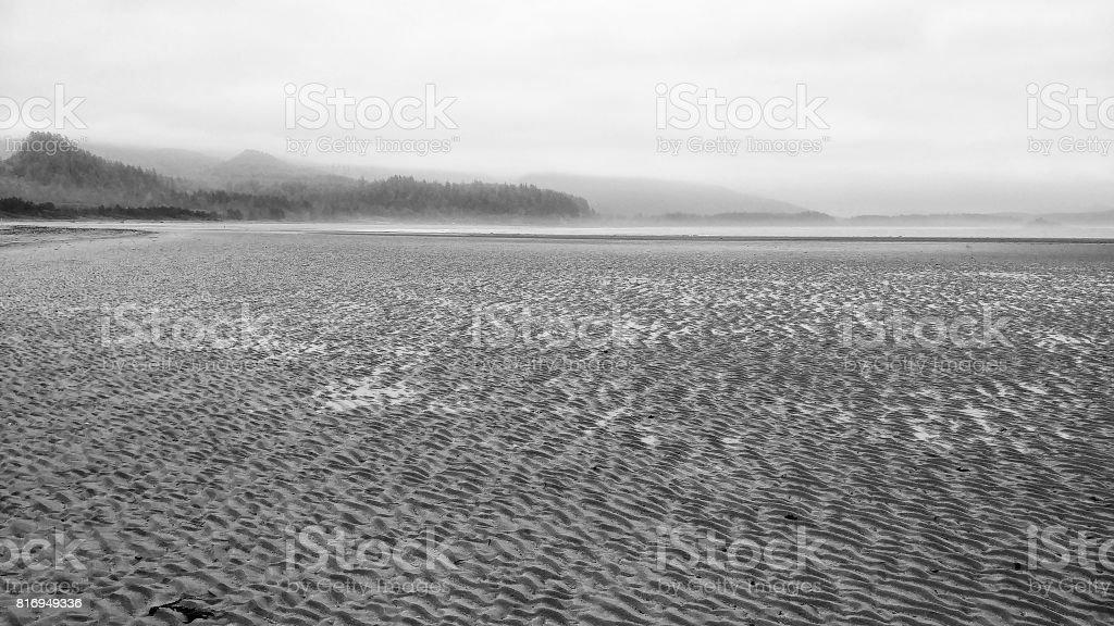 Neah Bay Beach, Makah Tribe, Washington, Sand Ripples, Mountains, stock photo