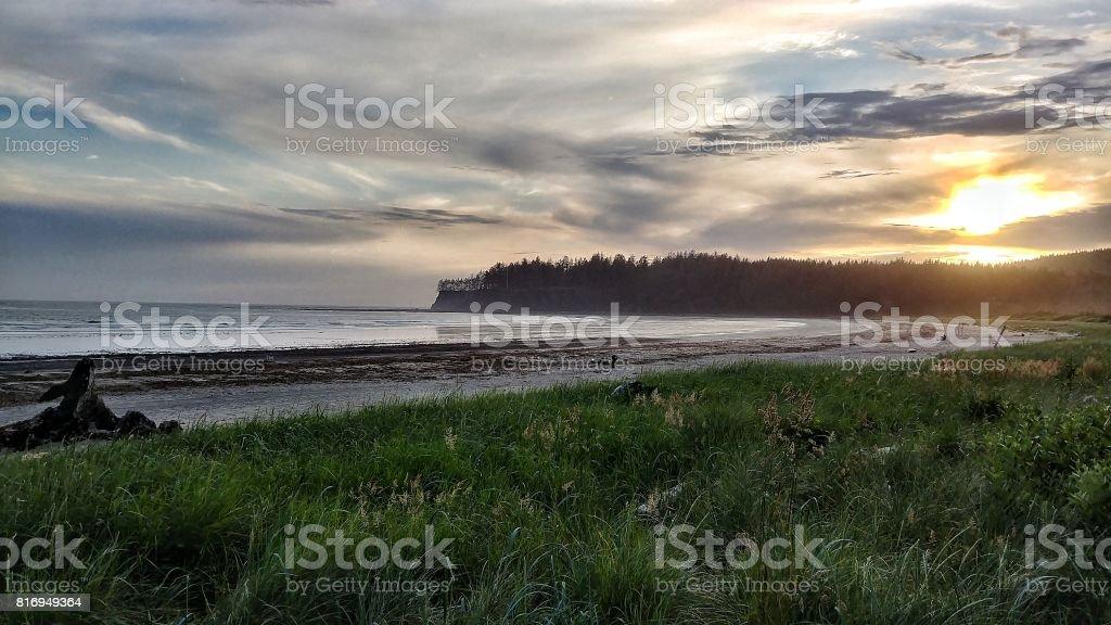Neah Bay Beach Sunset , Makah Tribe, Washington Landscape stock photo