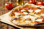 Neapolitan Pizza with buffalo mozzarella and basil