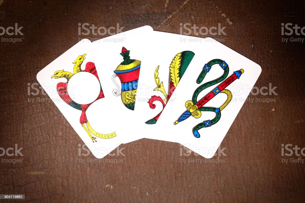 Neapolitan Scopa Briscola playing cards stock photo
