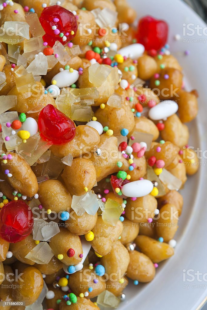 Neapolitan Struffoli Dessert for Christmas Feast royalty-free stock photo