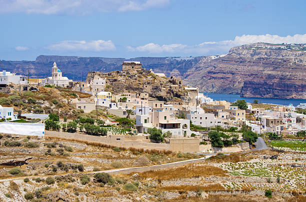 Near Akrotiri village on Santorini island, Greece stock photo