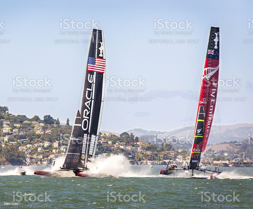Near Disaster at America's Cup Start stock photo