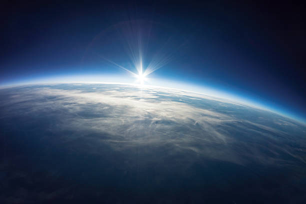 Near Space photography - 20km above ground / real photo stock photo