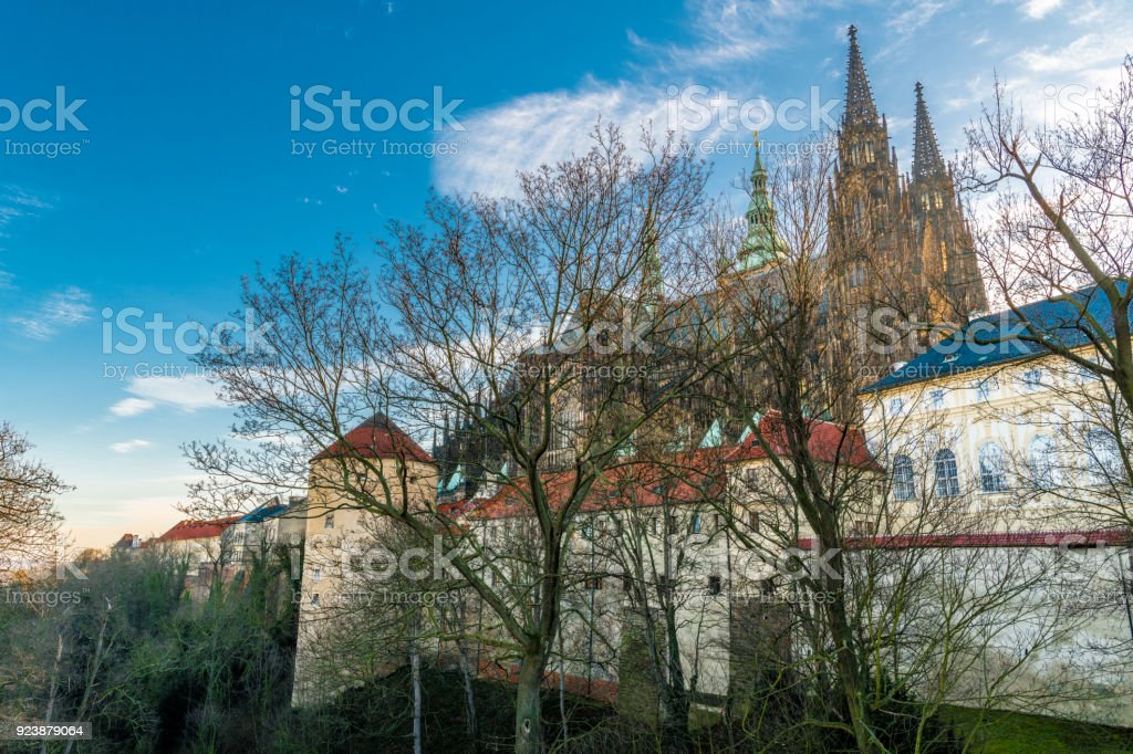 Near the walls of an old medieval fortress stock photo