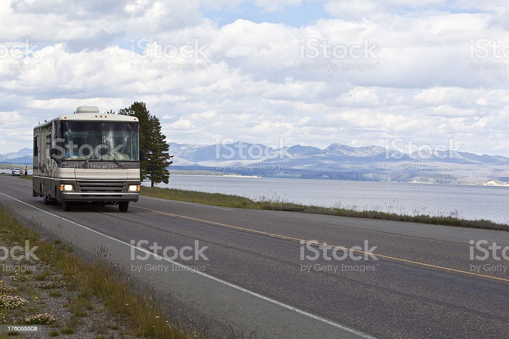 RV near Yelowstone Lake royalty-free stock photo