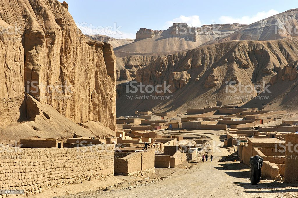 Near-empty village in the deserts of Afghanistan stock photo