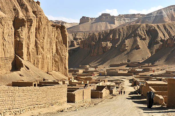 Near-empty village in the deserts of Afghanistan Afghanistan mud house village in mountain canyon near Bamyan Afghanistan stock pictures, royalty-free photos & images