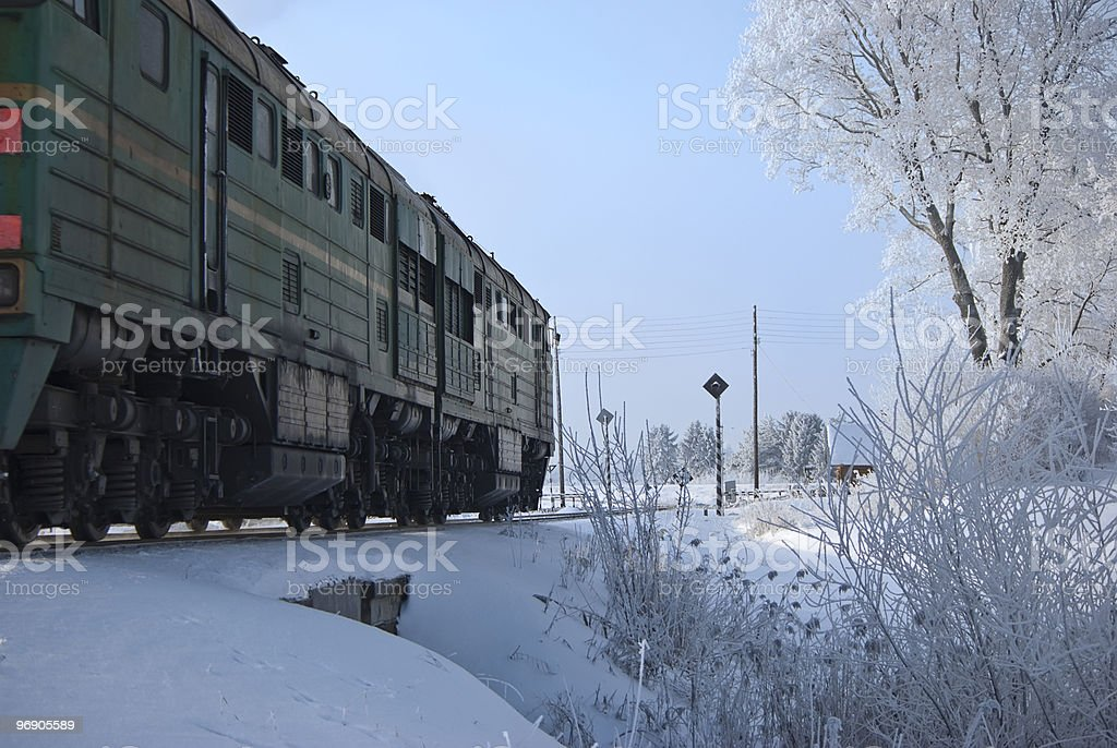 Nearer to a railway crossing royalty-free stock photo