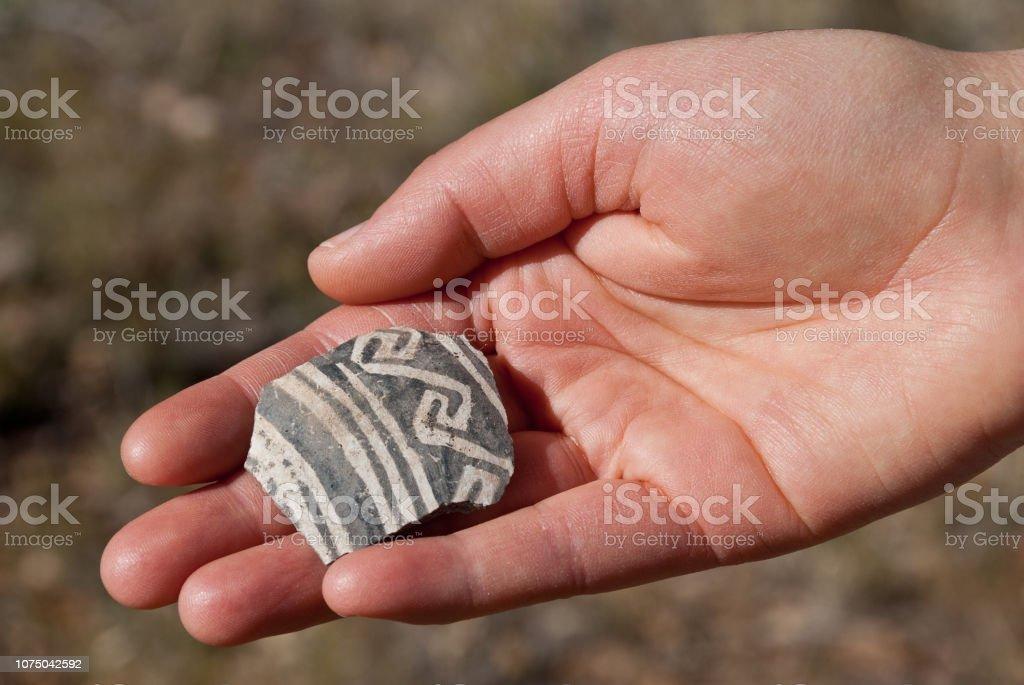 Ancient Pottery Shard stock photo