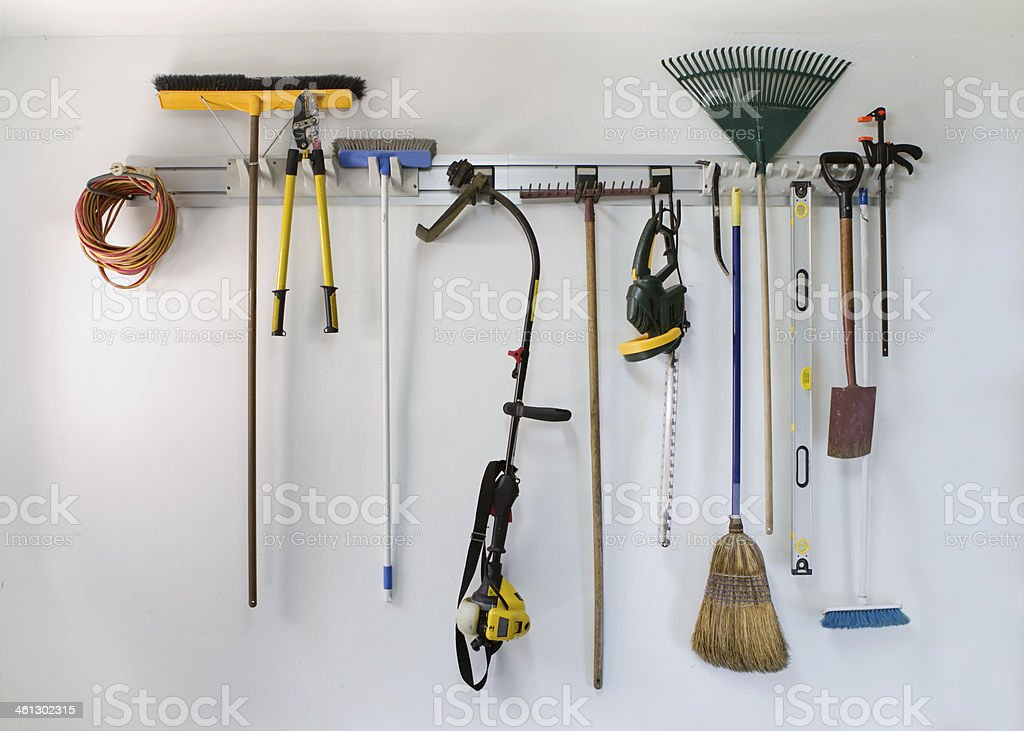 Neat garage tool hanging storage stock photo