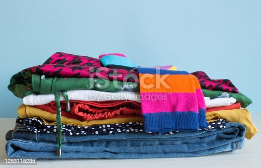 1146468307 istock photo A neat stack of folded multicolored underwear 1253115235