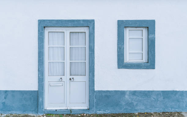 Neat traditional facade in Portugal stock photo