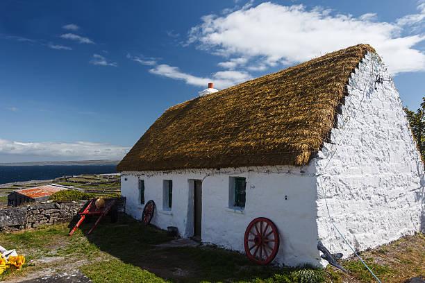 ordentlich weiß getünchten irische cottage auf der insel inishee - strohdach stock-fotos und bilder