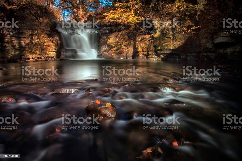 Neath Abbey waterfalls stock photo