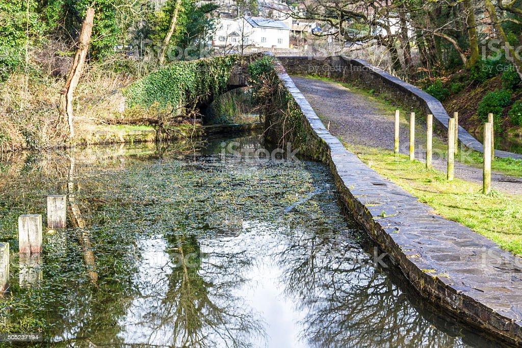 Neath Canal with Skew Bridge, Neath Canal, Aberdulais stock photo