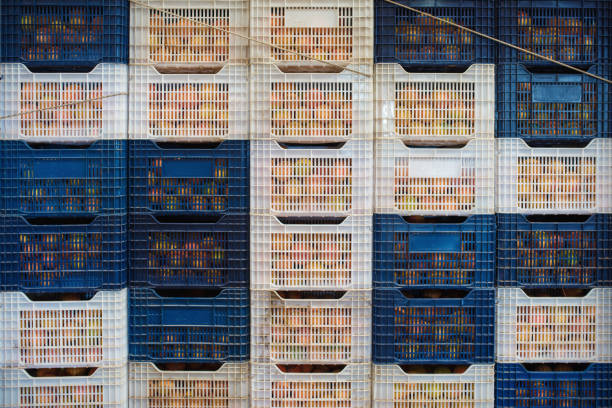 neatly arranged fruit basket, fruit warehouse. - prodotti supermercato foto e immagini stock