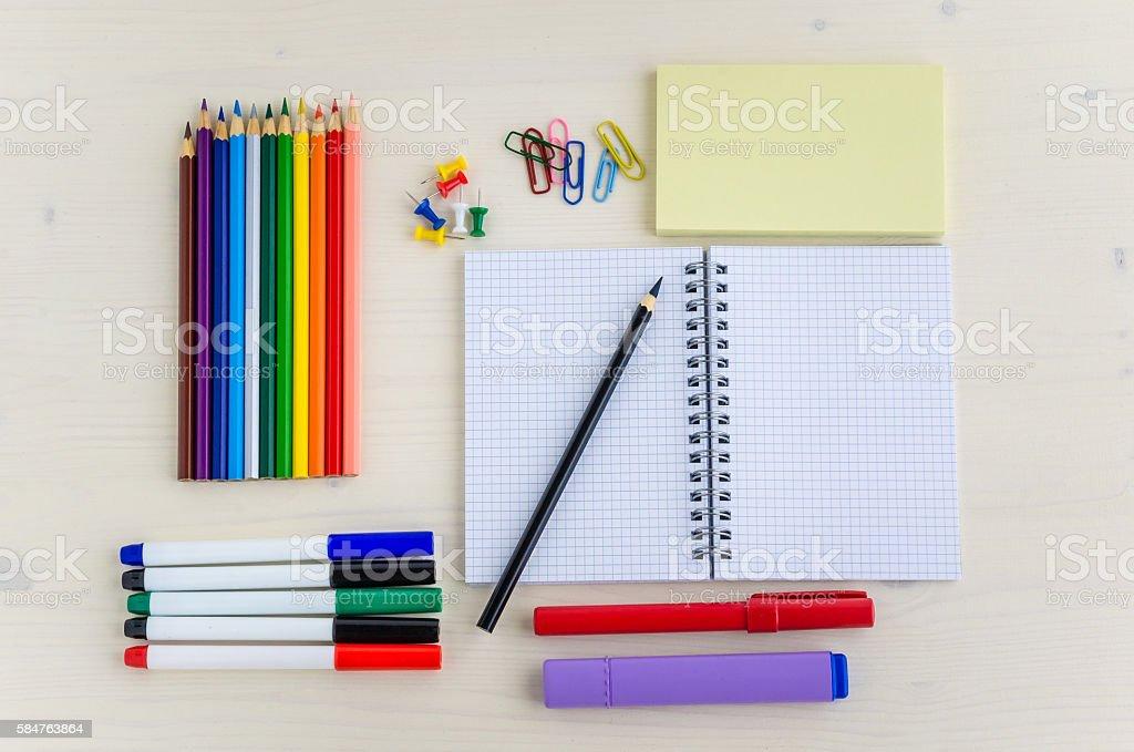 Neatly Arranged Stationery on a Desk stock photo