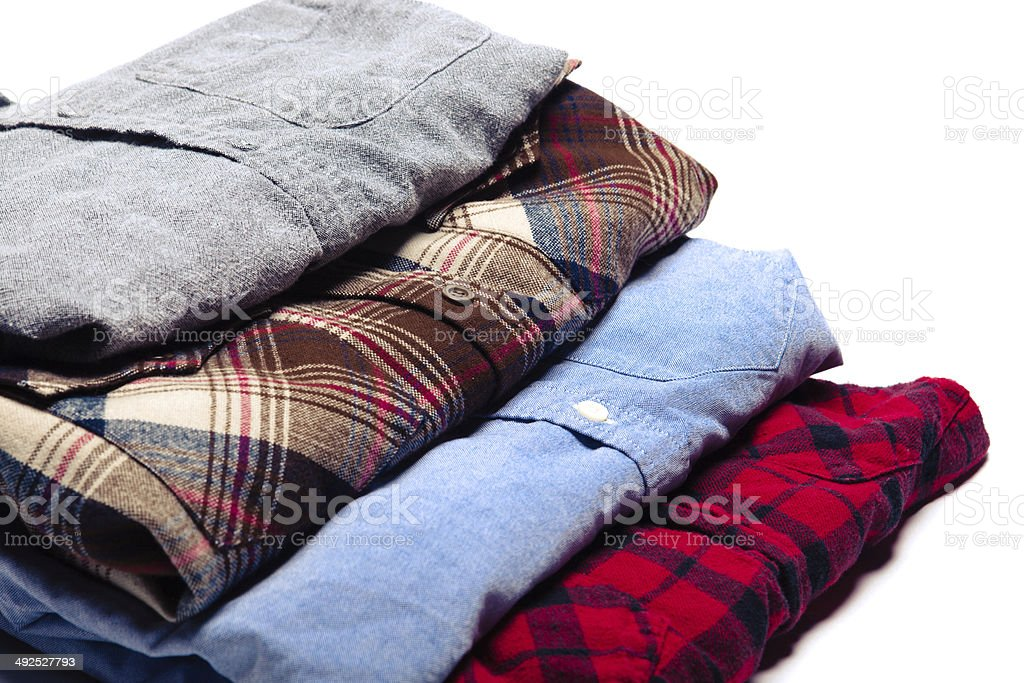 Neatly Folded Clean Button Down Shirts royalty-free stock photo