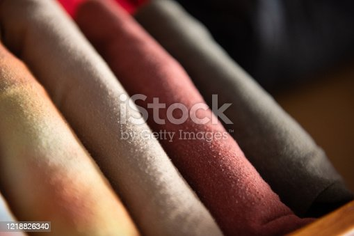 1164403364 istock photo Neatly Folded Organized T-Shirts in an Dresser Drawer at Home 1218826340