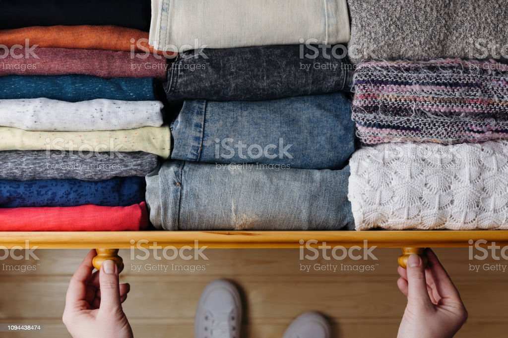 Neatly ordered clothes in drawer royalty-free stock photo