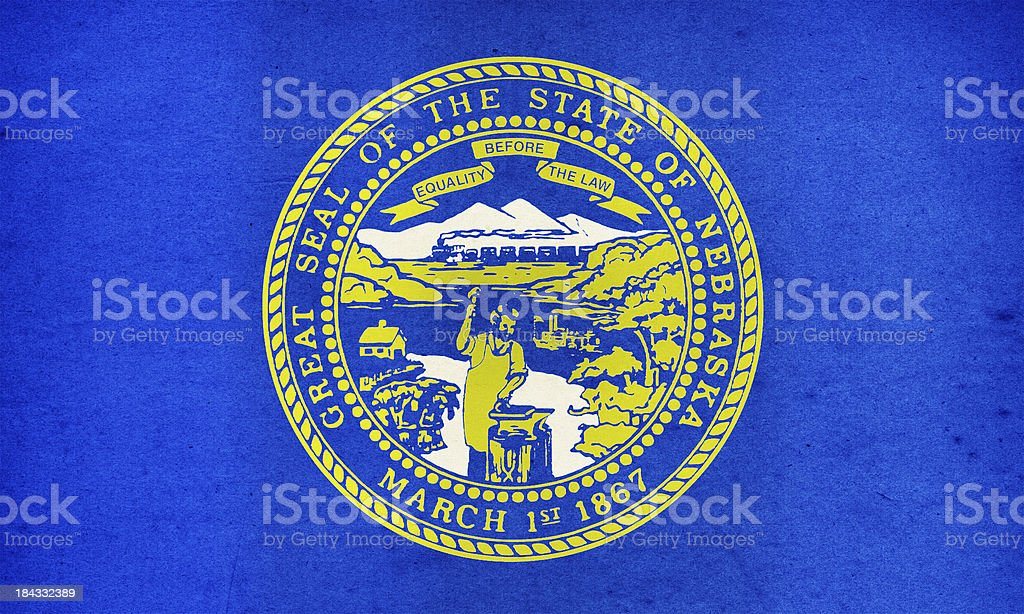 Nebraska Flag Close-Up (High Resolution Image) royalty-free stock photo