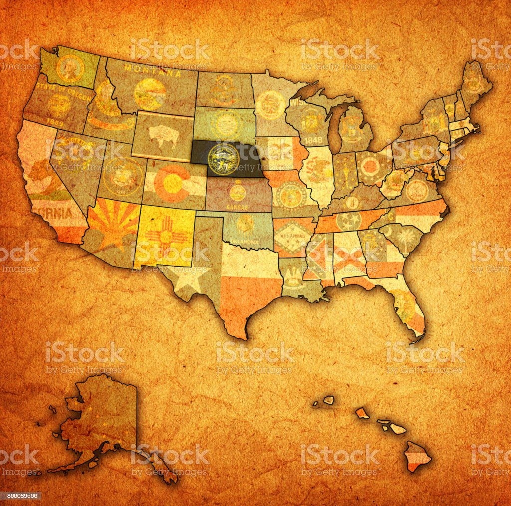 nebraska flag on old vintage map of United States of America stock photo