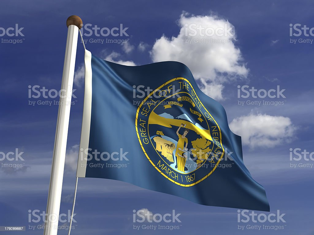 Nebraska flag (with clipping path) royalty-free stock photo