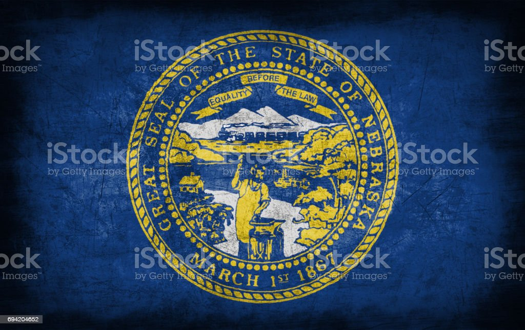 Nebraska flag with grunge metal texture stock photo