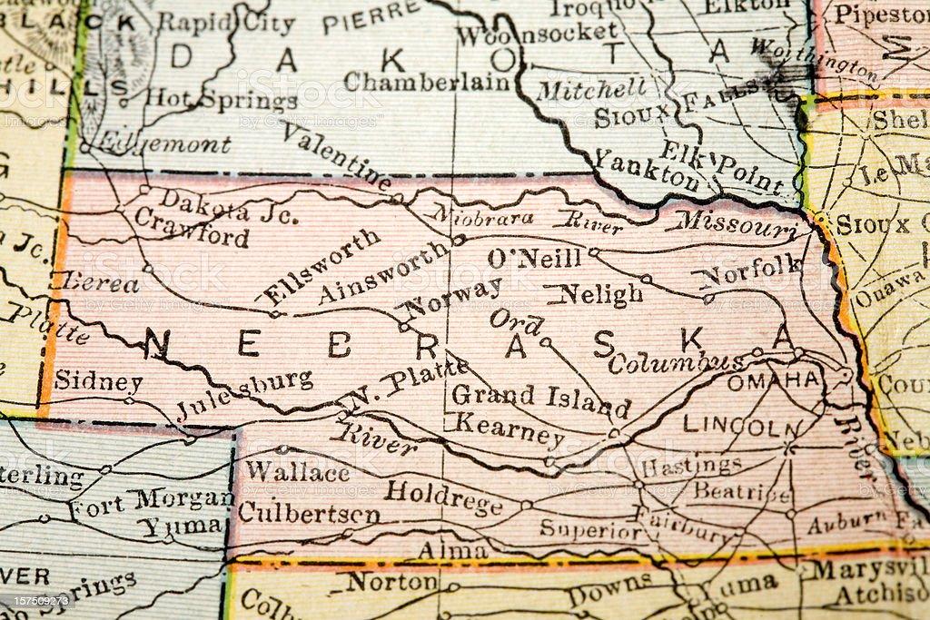 Nebraska map stock photo