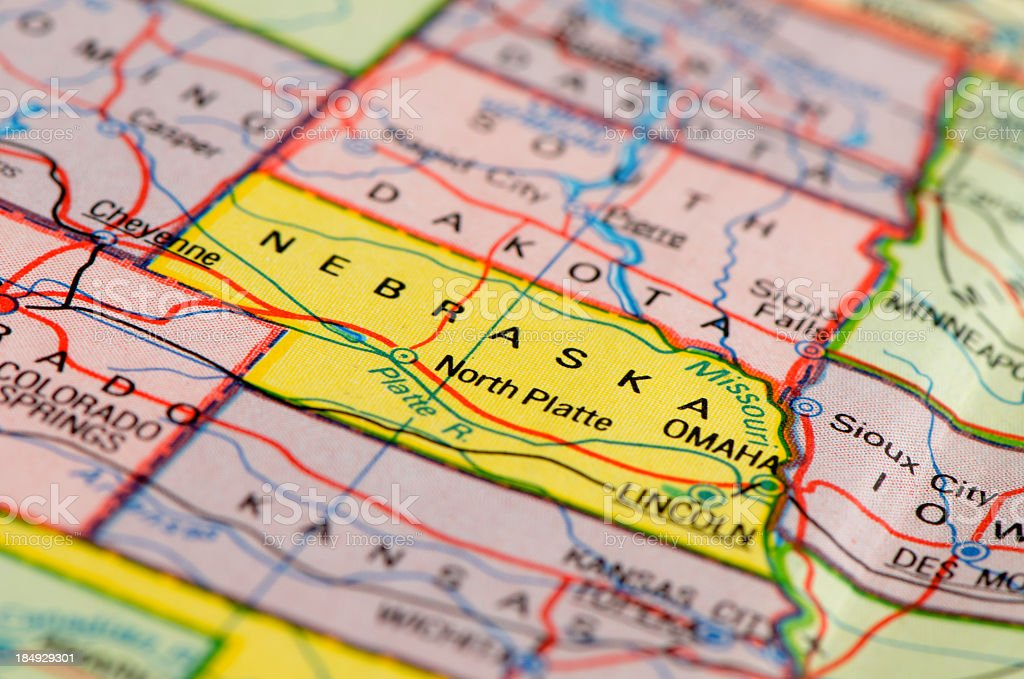 Nebraska map stock photo