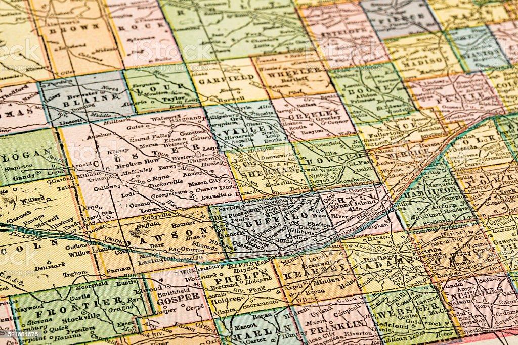 Nebraska on a vintage map stock photo